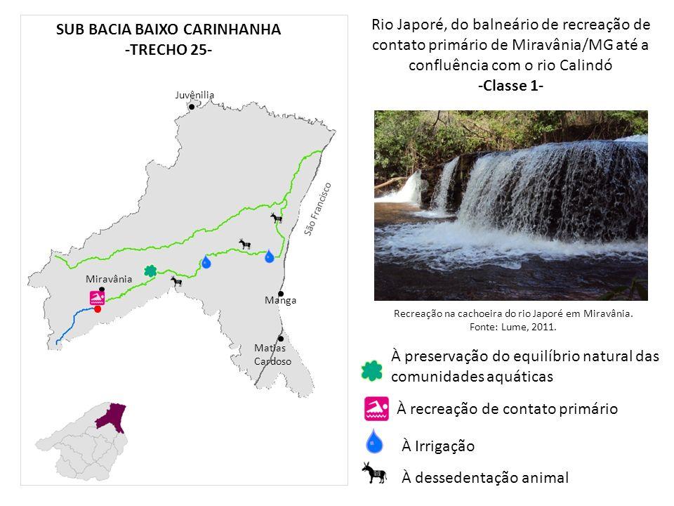 Rio Japoré, do balneário de recreação de contato primário de Miravânia/MG até a confluência com o rio Calindó -Classe 1- Manga Matias Cardoso Juvênili
