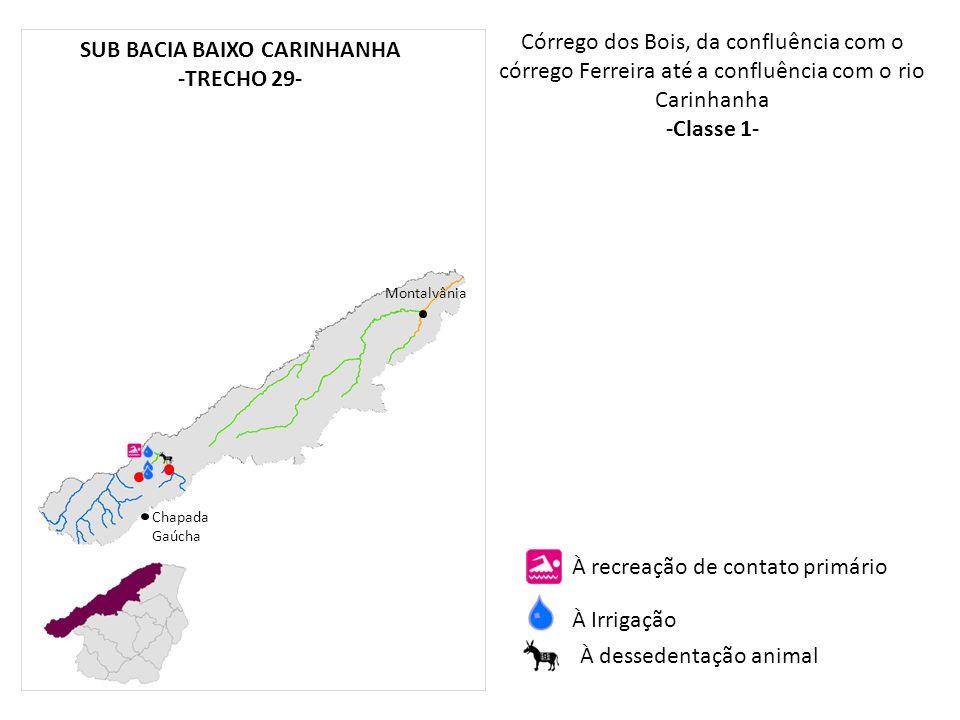 Córrego dos Bois, da confluência com o córrego Ferreira até a confluência com o rio Carinhanha -Classe 1- Chapada Gaúcha Montalvânia À recreação de co