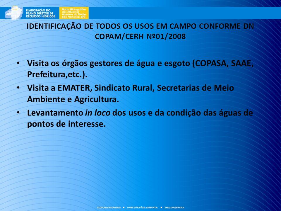 IDENTIFICAÇÃO DE TODOS OS USOS EM CAMPO CONFORME DN COPAM/CERH Nº01/2008 Visita os órgãos gestores de água e esgoto (COPASA, SAAE, Prefeitura,etc.). V