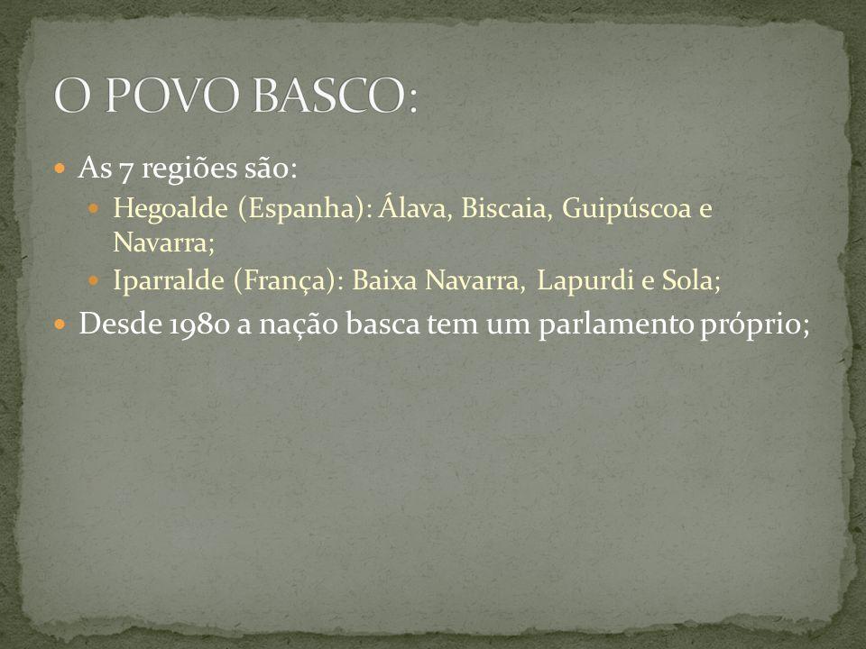 As 7 regiões são: Hegoalde (Espanha): Álava, Biscaia, Guipúscoa e Navarra; Iparralde (França): Baixa Navarra, Lapurdi e Sola; Desde 1980 a nação basca