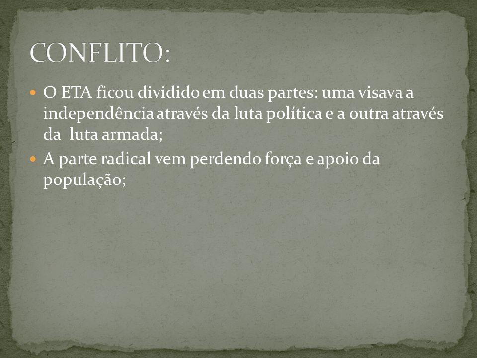 O ETA ficou dividido em duas partes: uma visava a independência através da luta política e a outra através da luta armada; A parte radical vem perdend