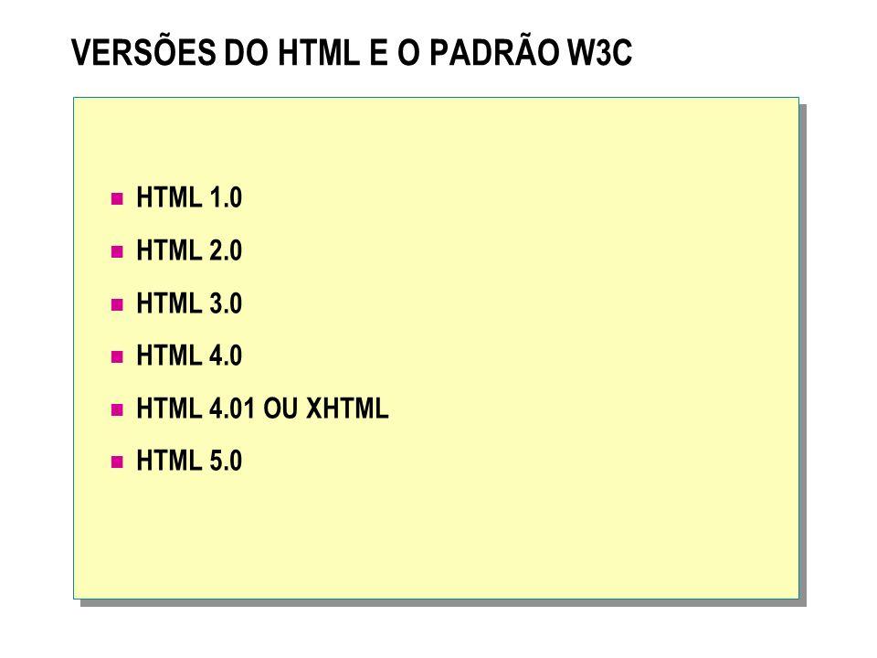 VERSÕES DO HTML E O PADRÃO W3C HTML 1.0 HTML 2.0 HTML 3.0 HTML 4.0 HTML 4.01 OU XHTML HTML 5.0