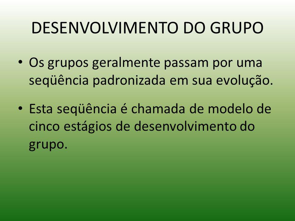 DESENVOLVIMENTO DO GRUPO Os grupos geralmente passam por uma seqüência padronizada em sua evolução. Esta seqüência é chamada de modelo de cinco estági