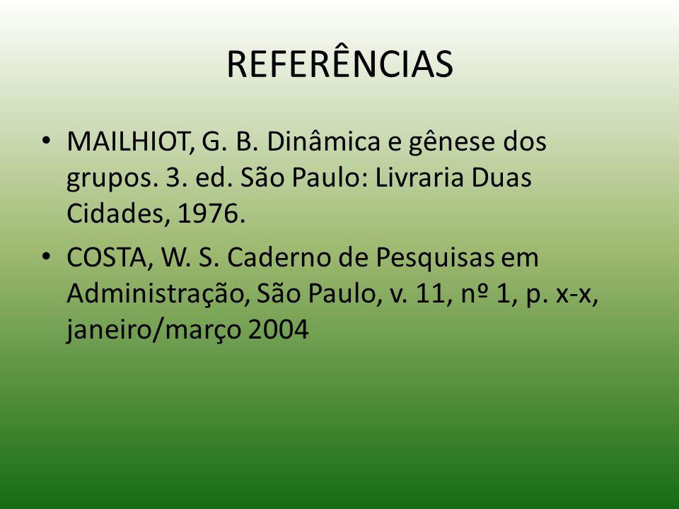 REFERÊNCIAS MAILHIOT, G. B. Dinâmica e gênese dos grupos. 3. ed. São Paulo: Livraria Duas Cidades, 1976. COSTA, W. S. Caderno de Pesquisas em Administ