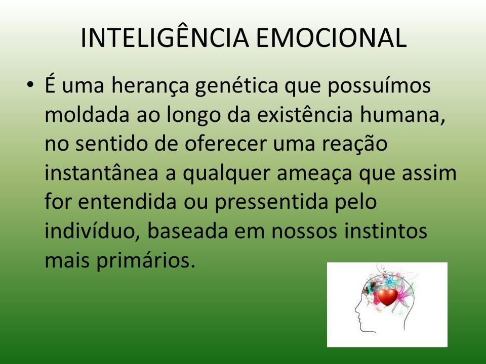 INTELIGÊNCIA EMOCIONAL É uma herança genética que possuímos moldada ao longo da existência humana, no sentido de oferecer uma reação instantânea a qua