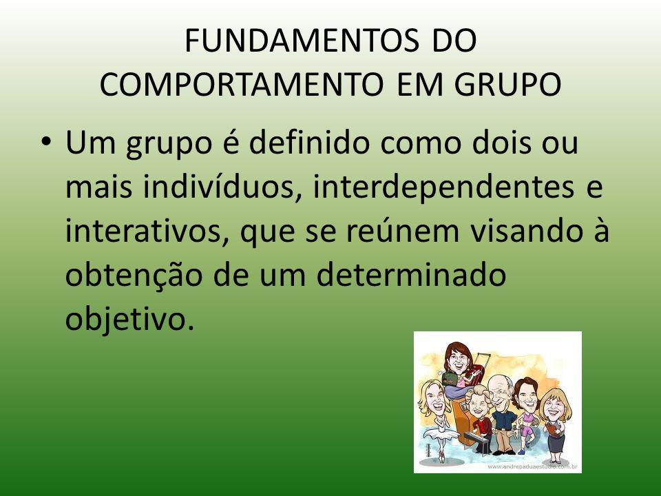 FUNDAMENTOS DO COMPORTAMENTO EM GRUPO Um grupo é definido como dois ou mais indivíduos, interdependentes e interativos, que se reúnem visando à obtenç