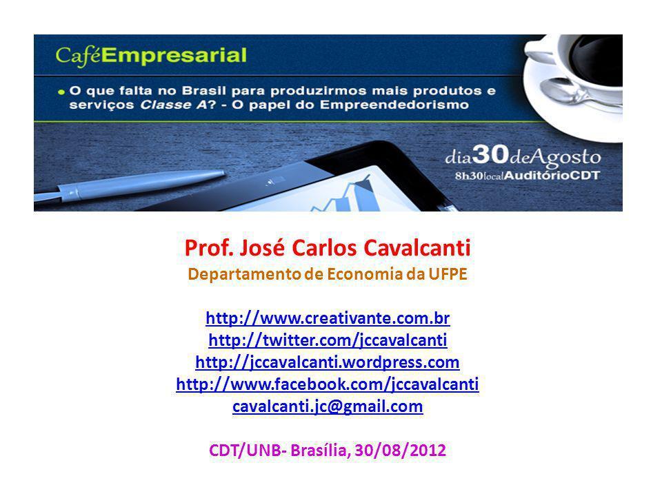 Prof. José Carlos Cavalcanti Departamento de Economia da UFPE http://www.creativante.com.br http://twitter.com/jccavalcanti http://jccavalcanti.wordpr