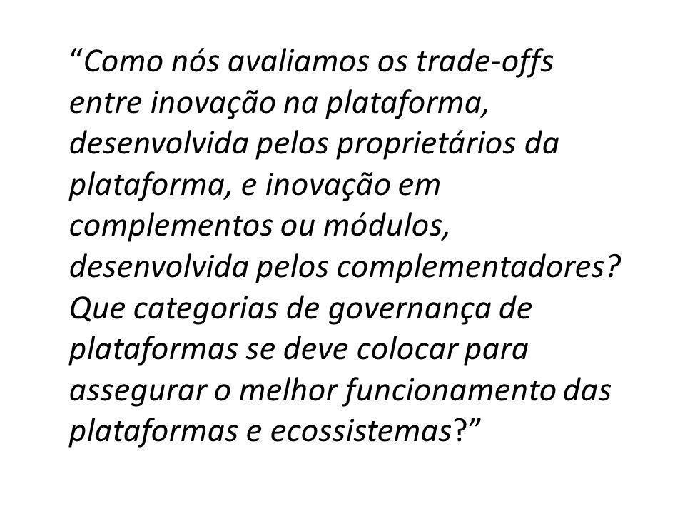 Como nós avaliamos os trade-offs entre inovação na plataforma, desenvolvida pelos proprietários da plataforma, e inovação em complementos ou módulos,