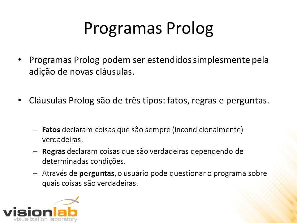 Programas Prolog Programas Prolog podem ser estendidos simplesmente pela adição de novas cláusulas. Cláusulas Prolog são de três tipos: fatos, regras