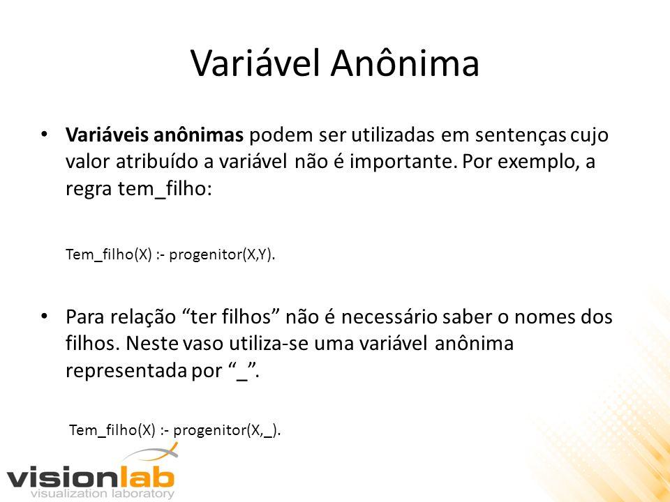 Variável Anônima Variáveis anônimas podem ser utilizadas em sentenças cujo valor atribuído a variável não é importante. Por exemplo, a regra tem_filho