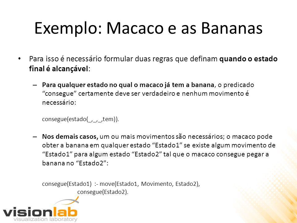 Exemplo: Macaco e as Bananas Para isso é necessário formular duas regras que definam quando o estado final é alcançável: – Para qualquer estado no qua