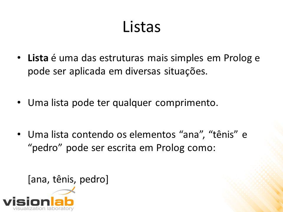 Listas Lista é uma das estruturas mais simples em Prolog e pode ser aplicada em diversas situações. Uma lista pode ter qualquer comprimento. Uma lista