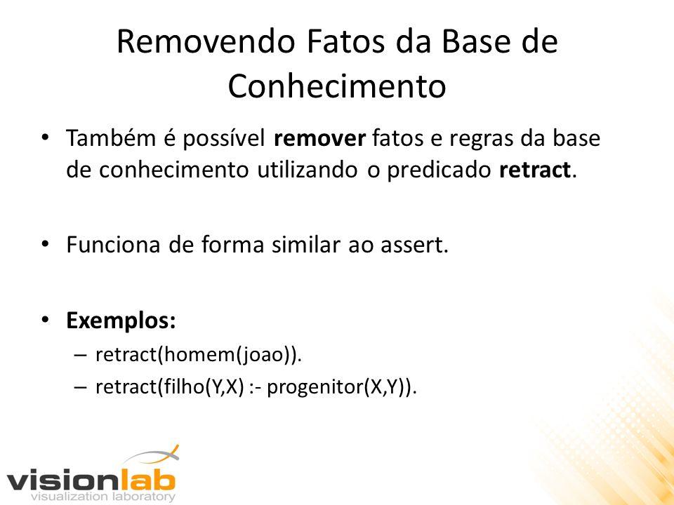 Removendo Fatos da Base de Conhecimento Também é possível remover fatos e regras da base de conhecimento utilizando o predicado retract. Funciona de f
