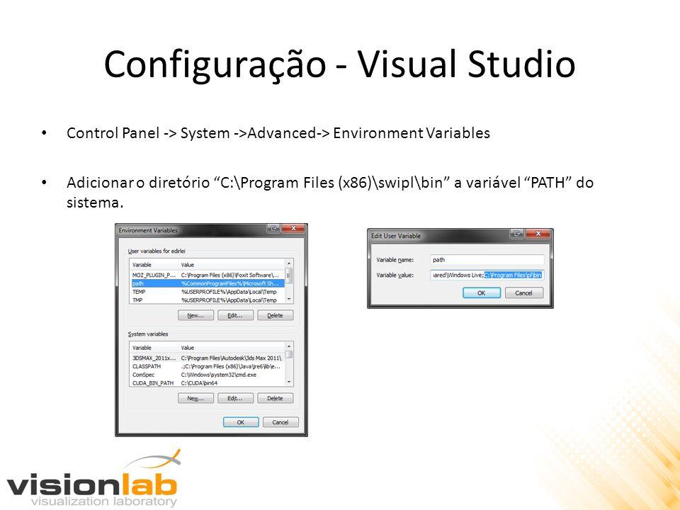 Configuração - Visual Studio Control Panel -> System ->Advanced-> Environment Variables Adicionar o diretório C:\Program Files (x86)\swipl\bin a variá