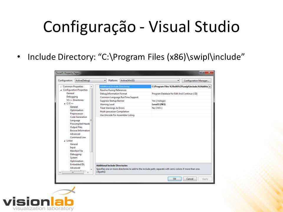 Configuração - Visual Studio Include Directory: C:\Program Files (x86)\swipl\include