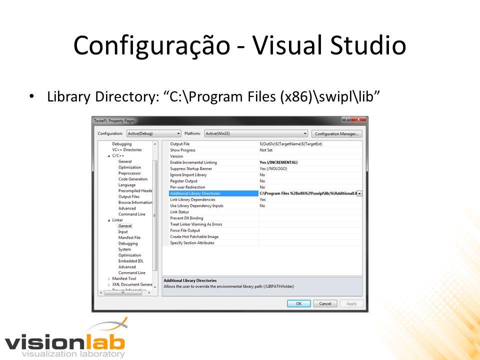 Configuração - Visual Studio Library Directory: C:\Program Files (x86)\swipl\lib