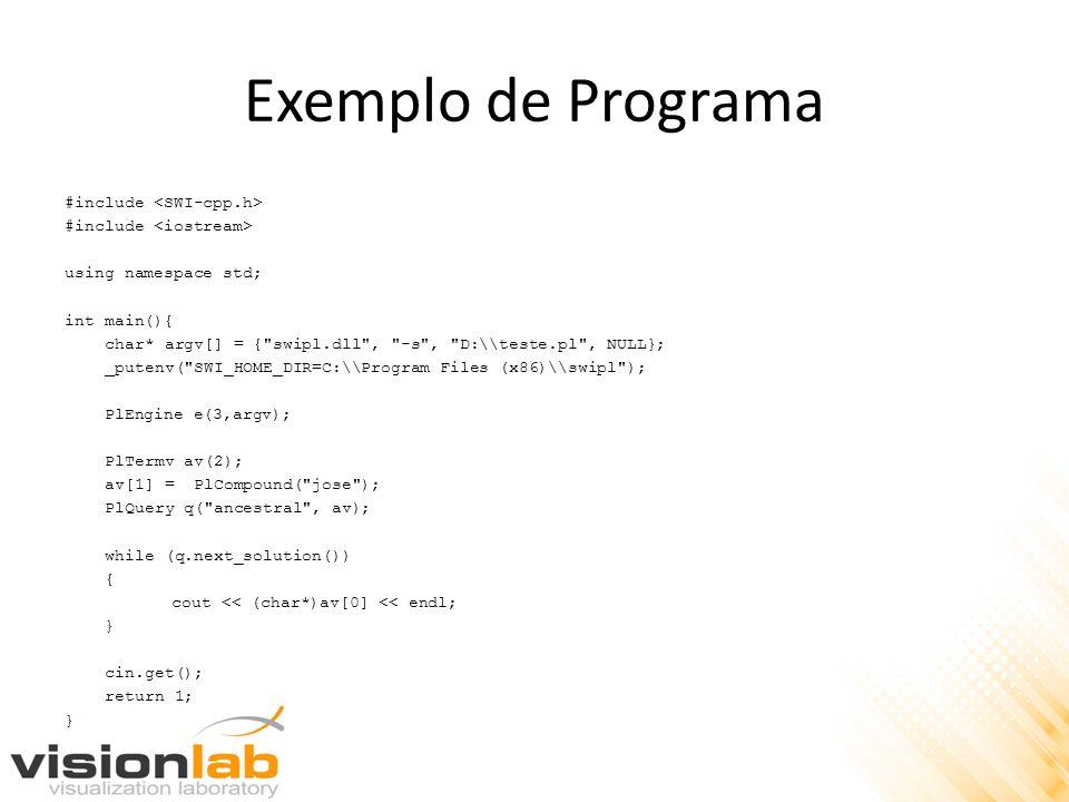 Exemplo de Programa #include using namespace std; int main(){ char* argv[] = {