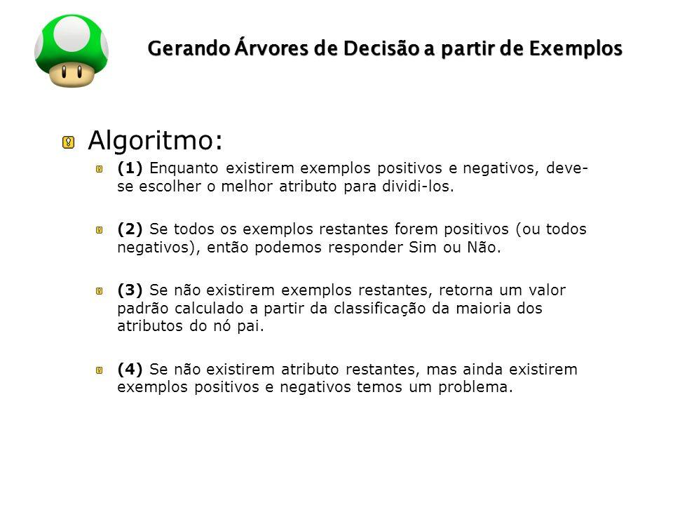 LOGO Gerando Árvores de Decisão a partir de Exemplos Algoritmo: (1) Enquanto existirem exemplos positivos e negativos, deve- se escolher o melhor atributo para dividi-los.