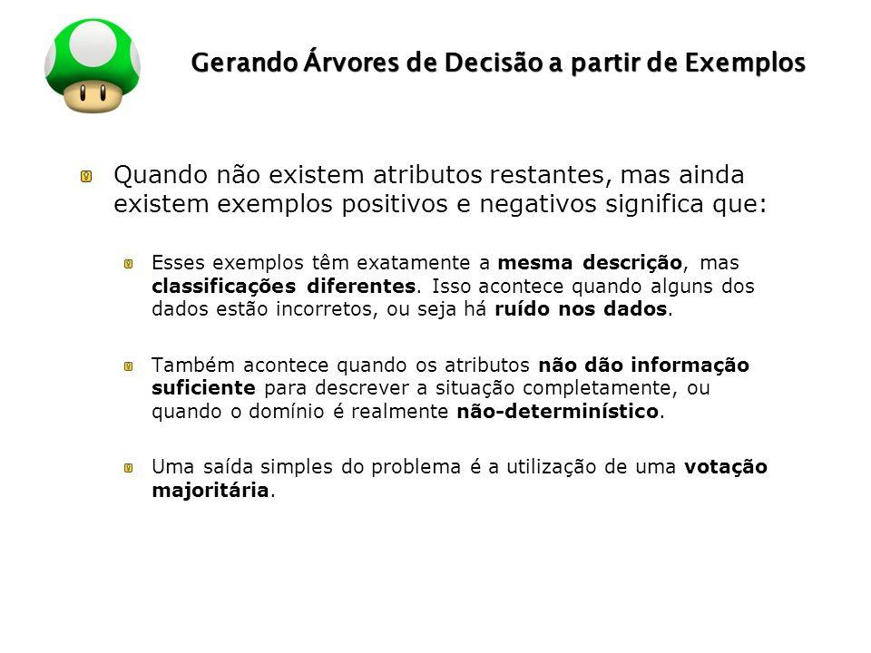 LOGO Gerando Árvores de Decisão a partir de Exemplos Quando não existem atributos restantes, mas ainda existem exemplos positivos e negativos signific