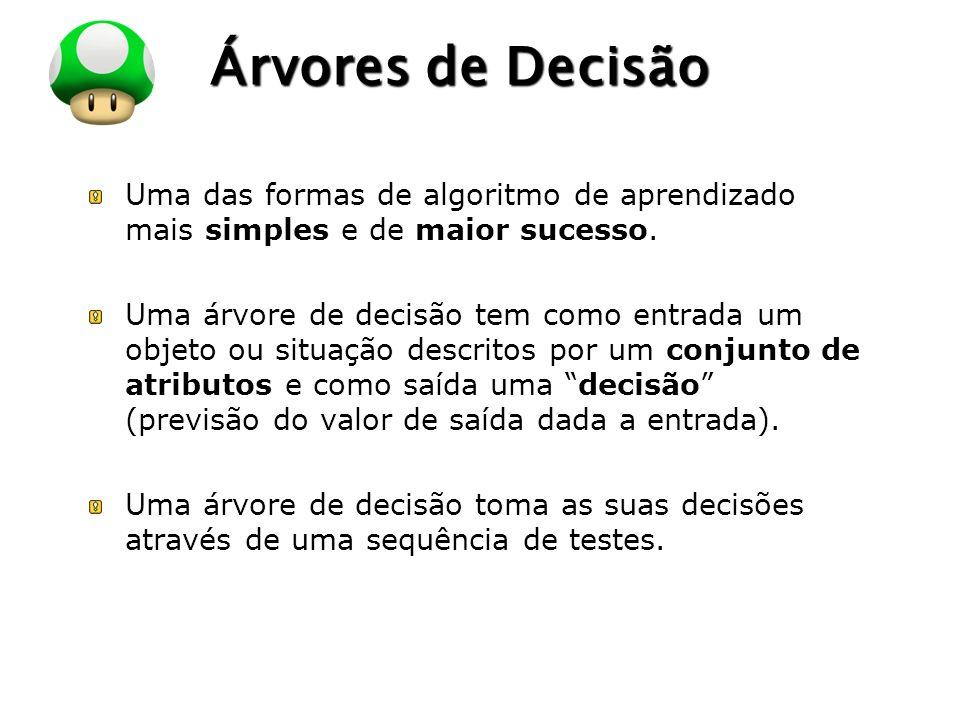 LOGO Árvores de Decisão Uma das formas de algoritmo de aprendizado mais simples e de maior sucesso.