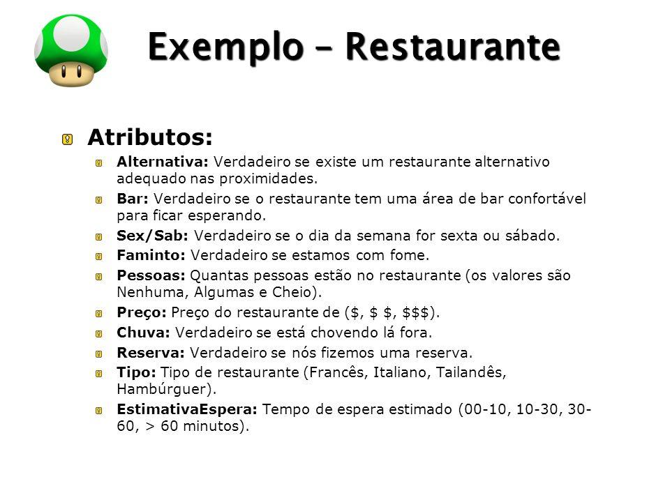 LOGO Exemplo – Restaurante Atributos: Alternativa: Verdadeiro se existe um restaurante alternativo adequado nas proximidades. Bar: Verdadeiro se o res