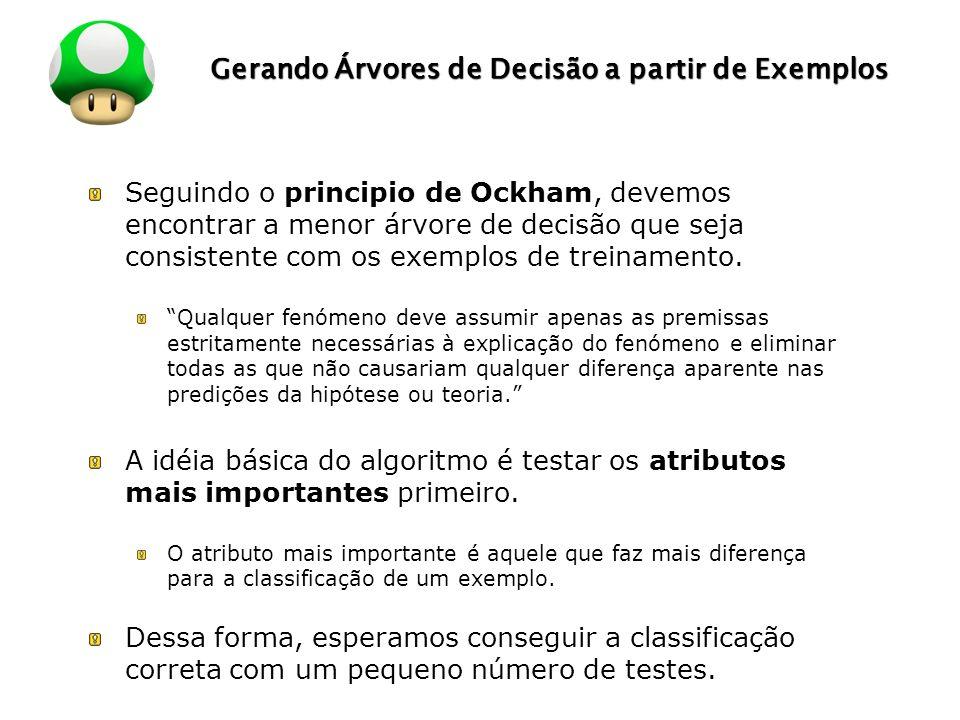 LOGO Gerando Árvores de Decisão a partir de Exemplos Seguindo o principio de Ockham, devemos encontrar a menor árvore de decisão que seja consistente com os exemplos de treinamento.