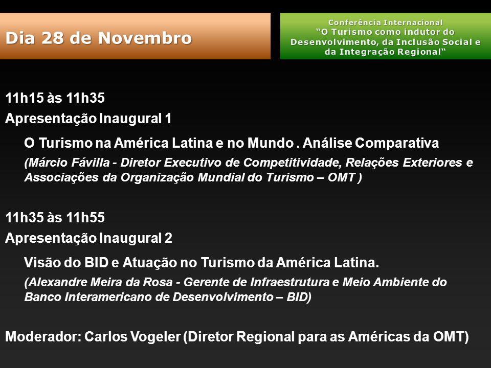 11h15 às 11h35 Apresentação Inaugural 1 O Turismo na América Latina e no Mundo.