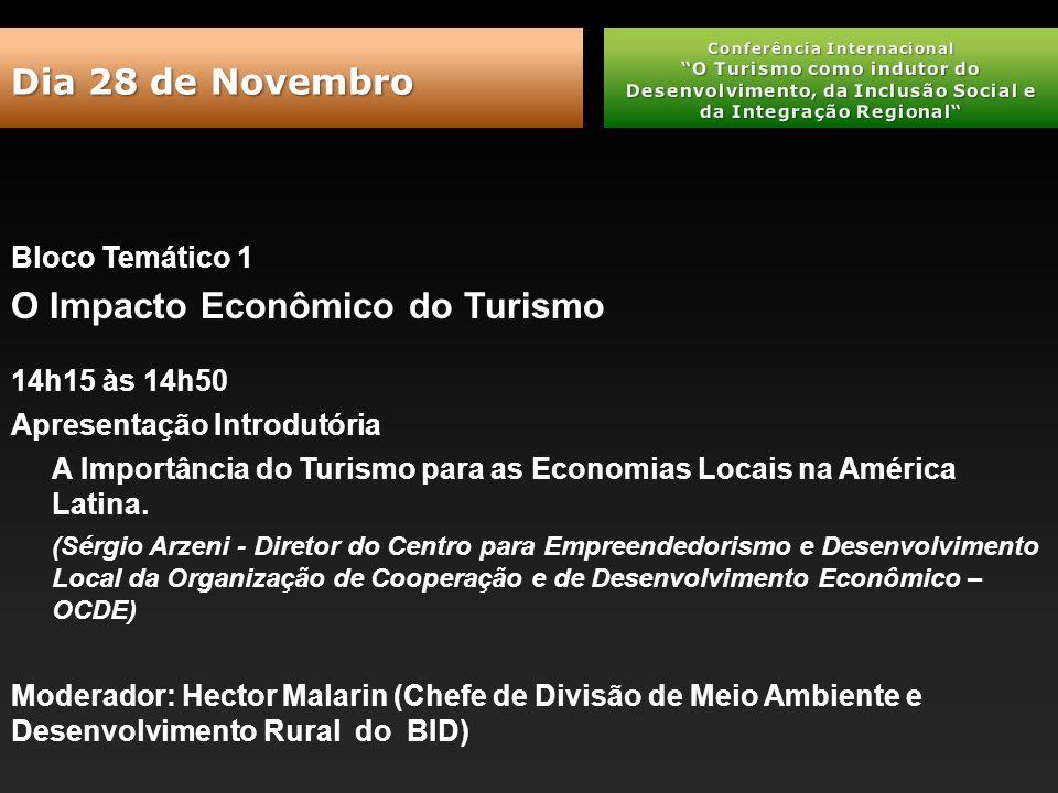 Bloco Temático 1 O Impacto Econômico do Turismo 14h15 às 14h50 Apresentação Introdutória A Importância do Turismo para as Economias Locais na América Latina.