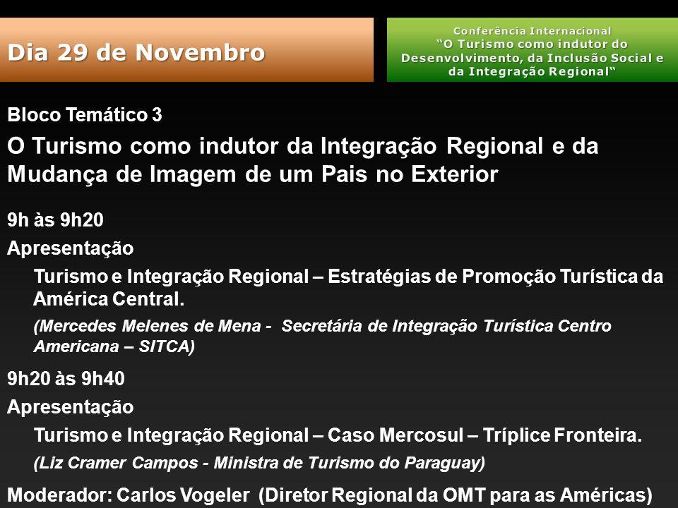 Bloco Temático 3 O Turismo como indutor da Integração Regional e da Mudança de Imagem de um Pais no Exterior 9h às 9h20 Apresentação Turismo e Integração Regional – Estratégias de Promoção Turística da América Central.