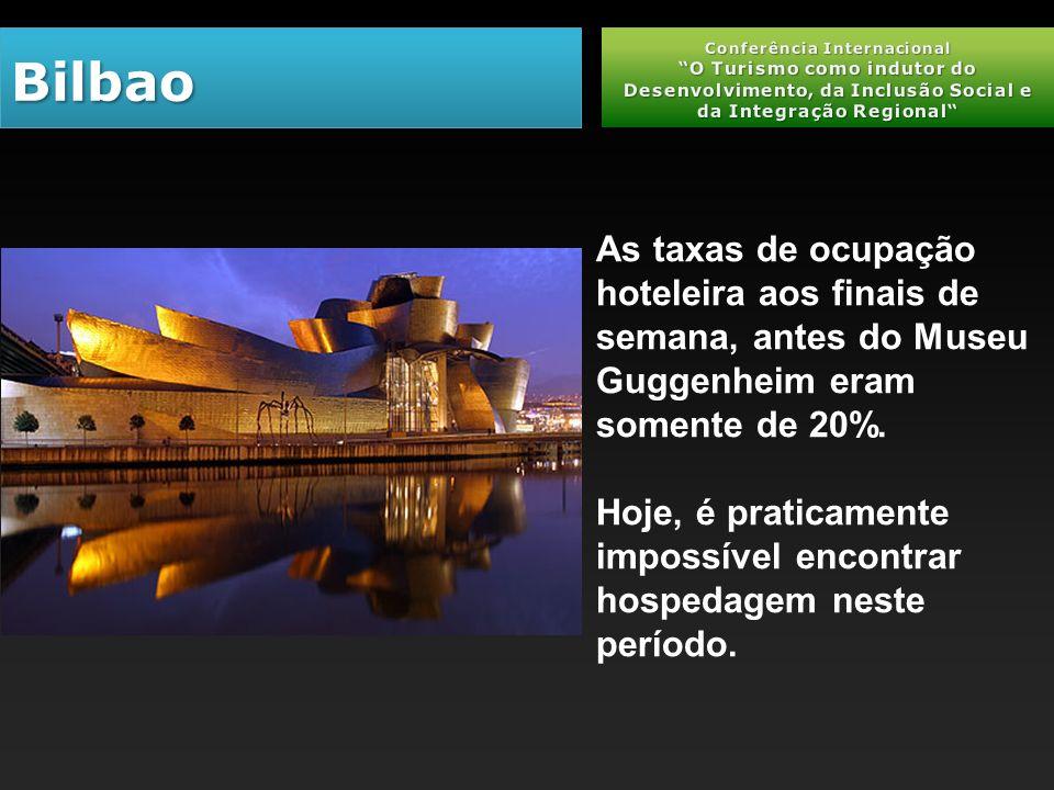 BilbaoBilbao As taxas de ocupação hoteleira aos finais de semana, antes do Museu Guggenheim eram somente de 20%.