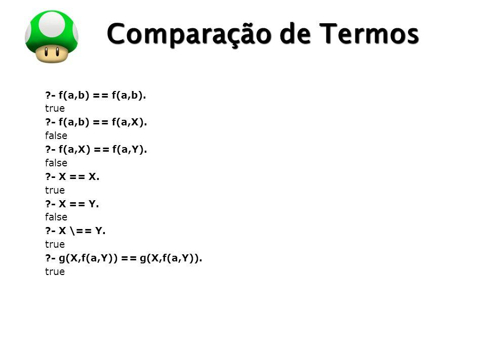 LOGO Comparação de Termos ?- f(a,b) == f(a,b). true ?- f(a,b) == f(a,X). false ?- f(a,X) == f(a,Y). false ?- X == X. true ?- X == Y. false ?- X \== Y.