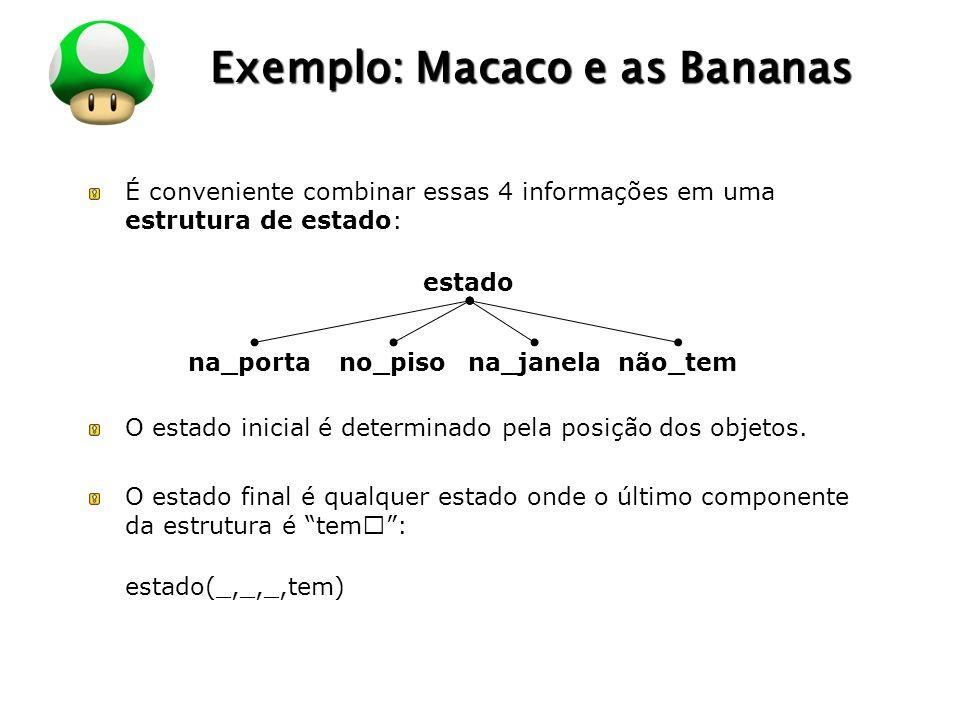 LOGO Exemplo: Macaco e as Bananas É conveniente combinar essas 4 informações em uma estrutura de estado: O estado inicial é determinado pela posição dos objetos.