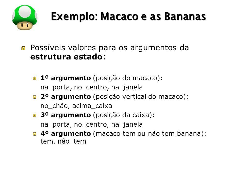 LOGO Exemplo: Macaco e as Bananas Possíveis valores para os argumentos da estrutura estado: 1º argumento (posição do macaco): na_porta, no_centro, na_janela 2º argumento (posição vertical do macaco): no_chão, acima_caixa 3º argumento (posição da caixa): na_porta, no_centro, na_janela 4º argumento (macaco tem ou não tem banana): tem, não_tem
