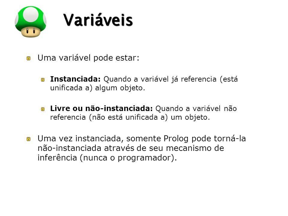 LOGO Variáveis Uma variável pode estar: Instanciada: Quando a variável já referencia (está unificada a) algum objeto. Livre ou não-instanciada: Quando