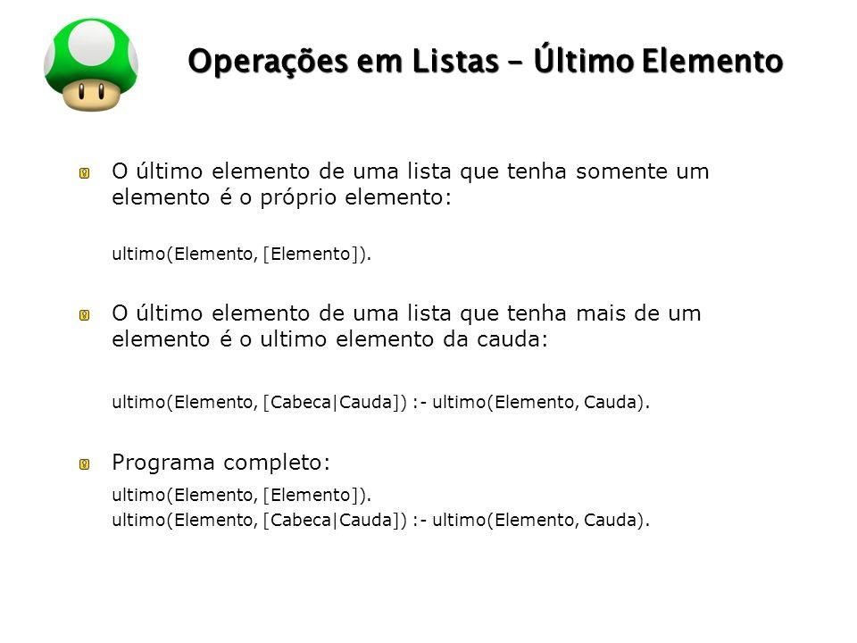 LOGO Operações em Listas – Último Elemento O último elemento de uma lista que tenha somente um elemento é o próprio elemento: ultimo(Elemento, [Elemento]).