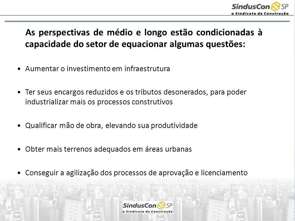 As perspectivas de médio e longo estão condicionadas à capacidade do setor de equacionar algumas questões: Aumentar o investimento em infraestrutura T