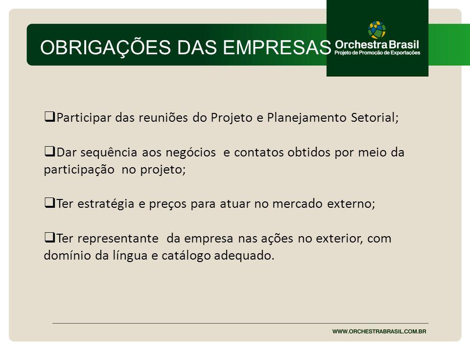 OBRIGAÇÕES DAS EMPRESAS Participar das reuniões do Projeto e Planejamento Setorial; Dar sequência aos negócios e contatos obtidos por meio da particip