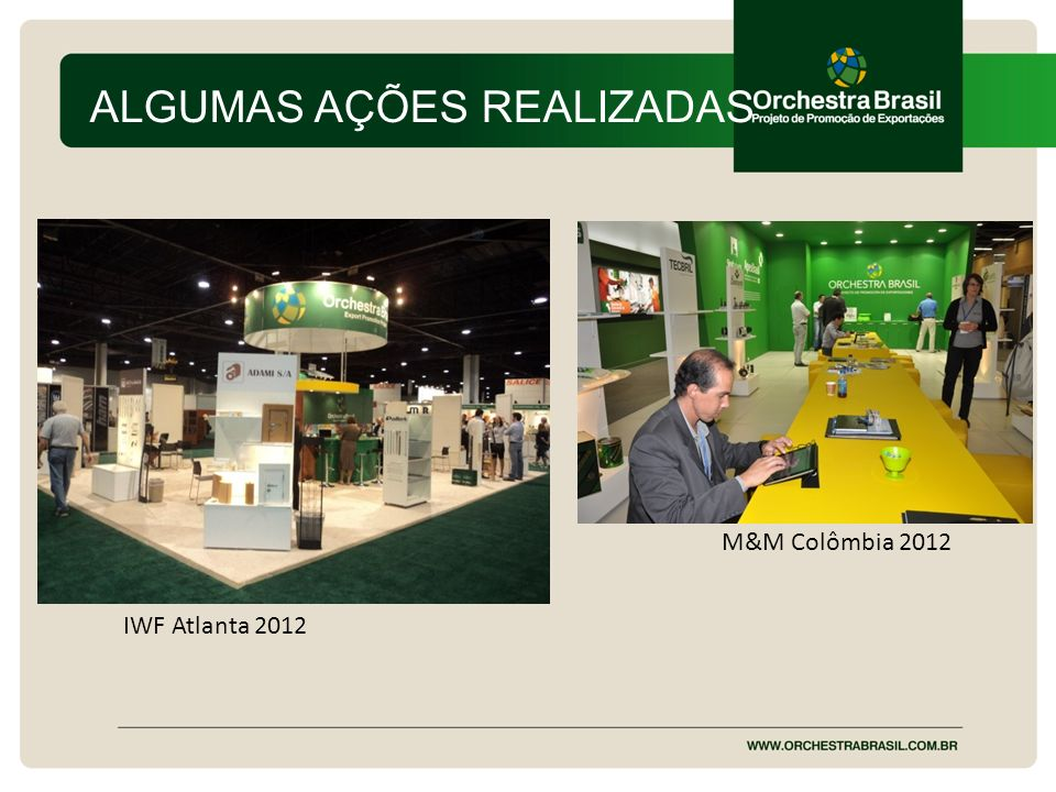 ALGUMAS AÇÕES REALIZADAS IWF Atlanta 2012 M&M Colômbia 2012