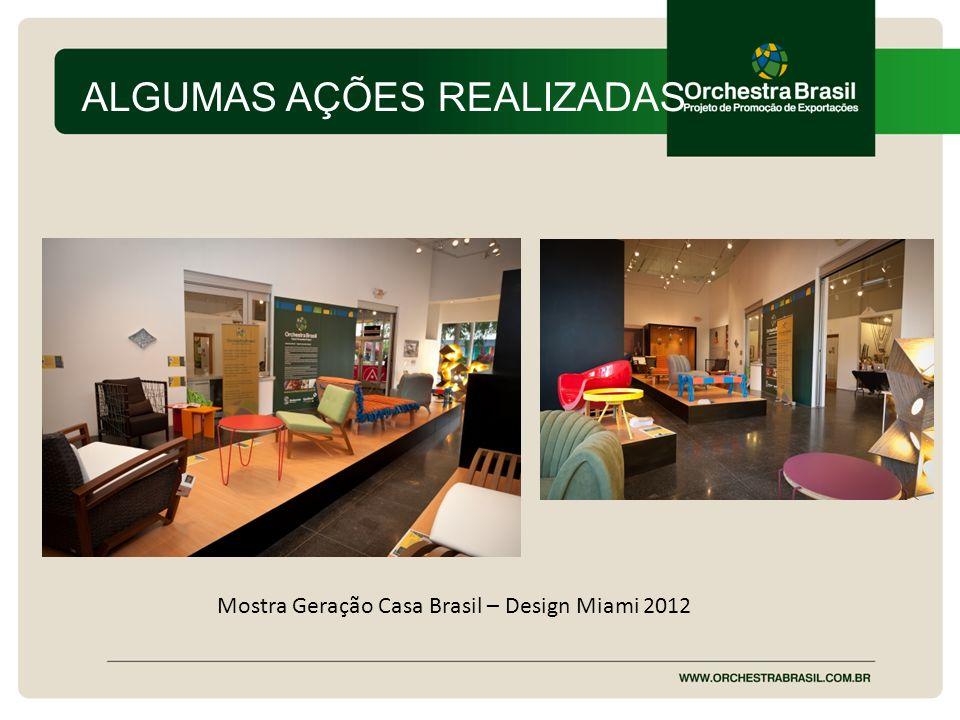 ALGUMAS AÇÕES REALIZADAS Mostra Geração Casa Brasil – Design Miami 2012