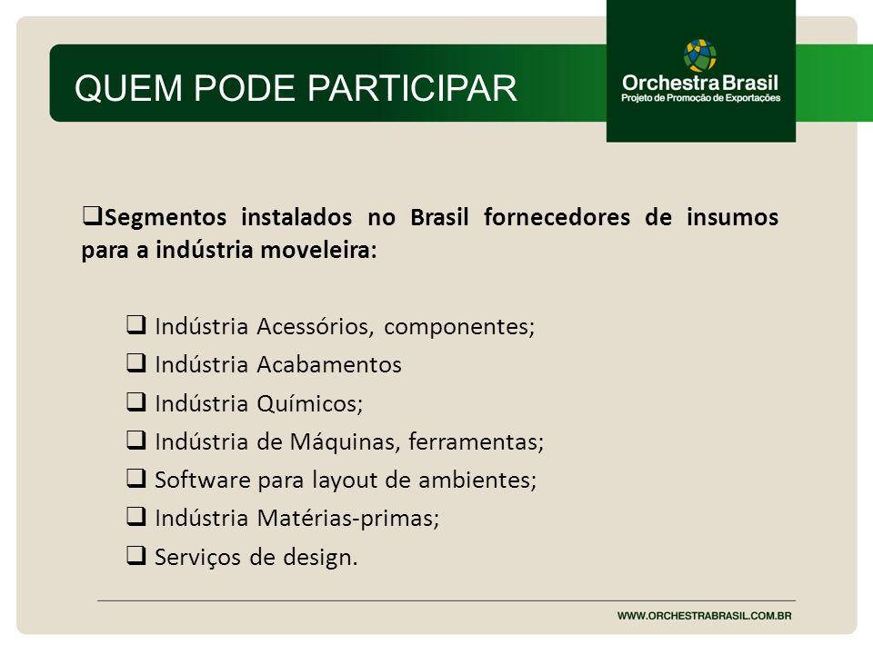 QUEM PODE PARTICIPAR Segmentos instalados no Brasil fornecedores de insumos para a indústria moveleira: Indústria Acessórios, componentes; Indústria A