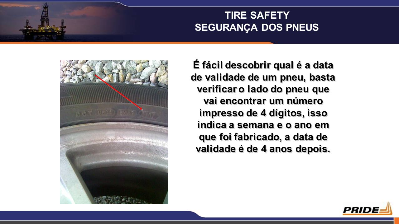 É fácil descobrir qual é a data de validade de um pneu, basta verificar o lado do pneu que vai encontrar um número impresso de 4 dígitos, isso indica
