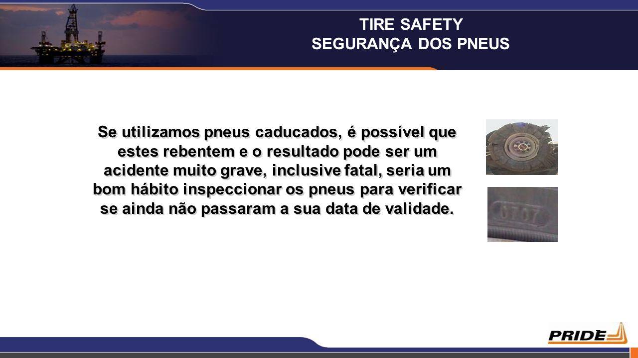 7 Se utilizamos pneus caducados, é possível que estes rebentem e o resultado pode ser um acidente muito grave, inclusive fatal, seria um bom hábito in