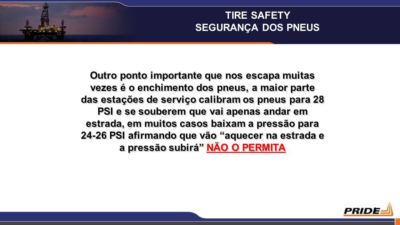 9 Na lateral do pneu, encontramos o valor máximo admissível para a pressão, alguns pneus têm apenas capacidade para a pressão máxima de 32 PSI, outros são projectados para 44 PSI e alguns mesmo 50 PSI.