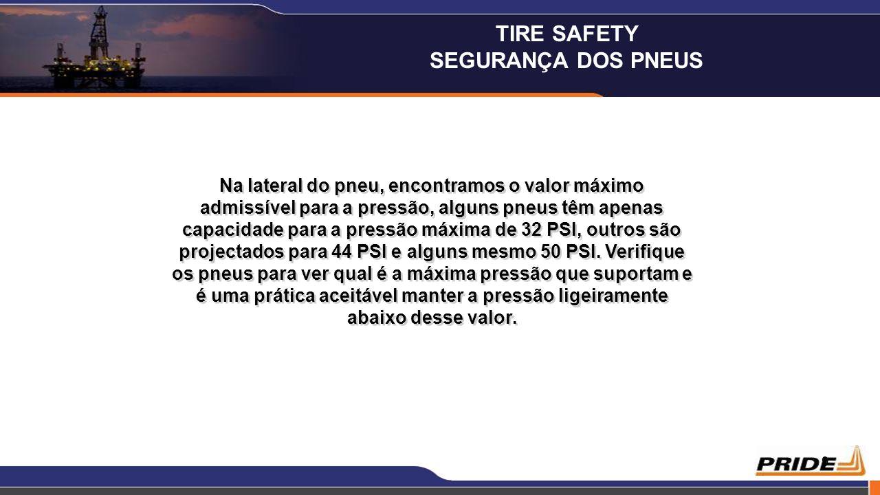 10 MAX PRESSACEITÁVEL 32 PSI28 PSI 44 PSI35 PSI 50 PSI44 PSI MAX PRESSACEITÁVEL 32 PSI28 PSI 44 PSI35 PSI 50 PSI44 PSI Diferentes pneus são projectados para diferentes pressões, você pode encontrar o valor máximo de pressão dos pneus num pequeno número próximo à jante sobre um dos lados do pneu, nunca poderá ultrapassar esta pressão (44 psi) MAX PRESS TIRE SAFETY SEGURANÇA DOS PNEUS