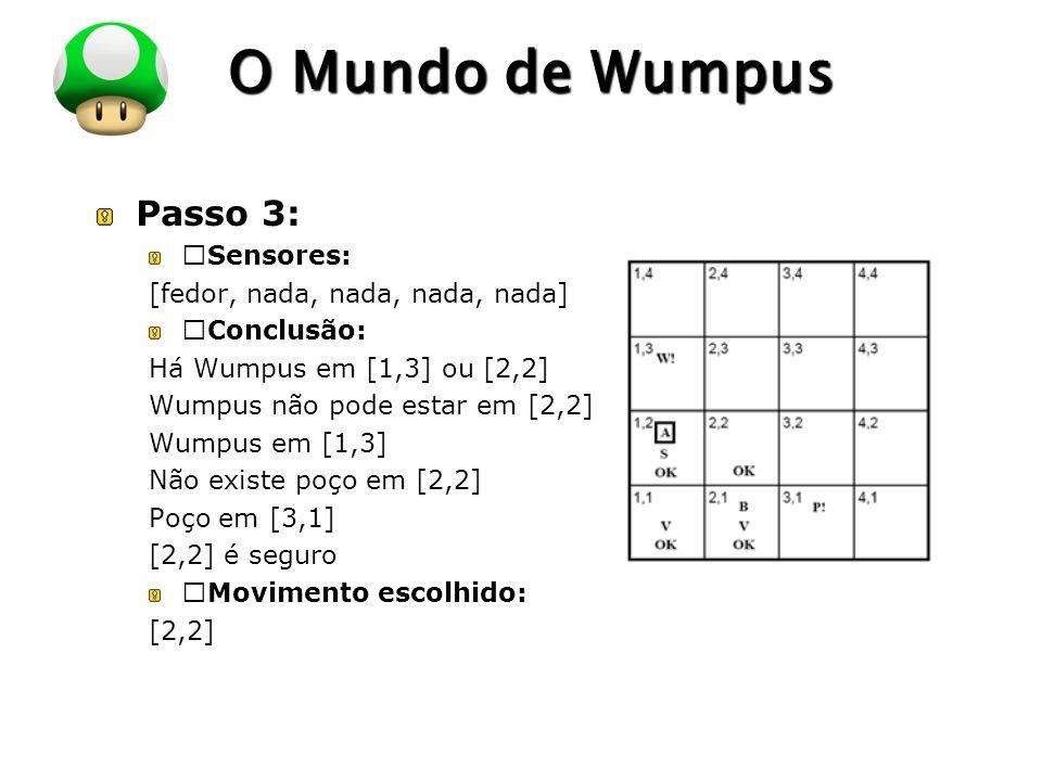 """LOGO O Mundo de Wumpus Passo 3: """"Sensores: [fedor, nada, nada, nada, nada] """"Conclusão: Há Wumpus em [1,3] ou [2,2] Wumpus não pode estar em [2,2] Wumpus em [1,3] Não existe poço em [2,2] Poço em [3,1] [2,2] é seguro """"Movimento escolhido: [2,2]"""