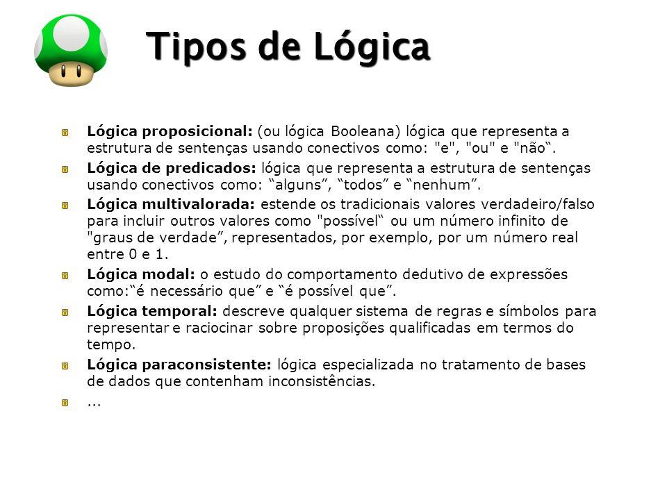 LOGO Tipos de Lógica Lógica proposicional: (ou lógica Booleana) lógica que representa a estrutura de sentenças usando conectivos como: e , ou e não.