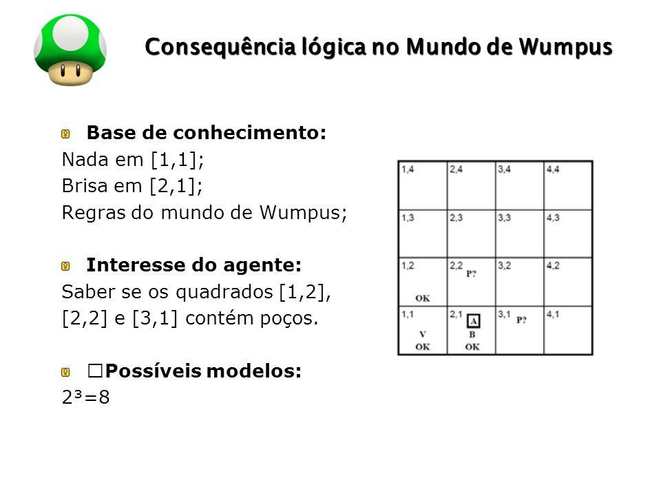 LOGO Consequência lógica no Mundo de Wumpus Base de conhecimento: Nada em [1,1]; Brisa em [2,1]; Regras do mundo de Wumpus; Interesse do agente: Saber se os quadrados [1,2], [2,2] e [3,1] contém poços.