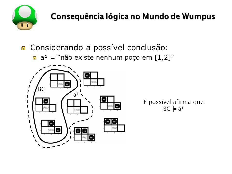 LOGO Consequência lógica no Mundo de Wumpus Considerando a possível conclusão: a¹ = não existe nenhum poço em [1,2] É possivel afirma que BC a¹ BC a¹