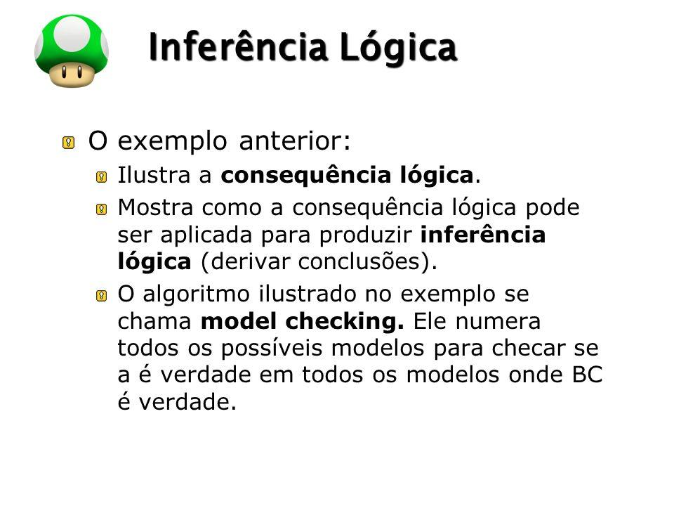 LOGO Inferência Lógica O exemplo anterior: Ilustra a consequência lógica.