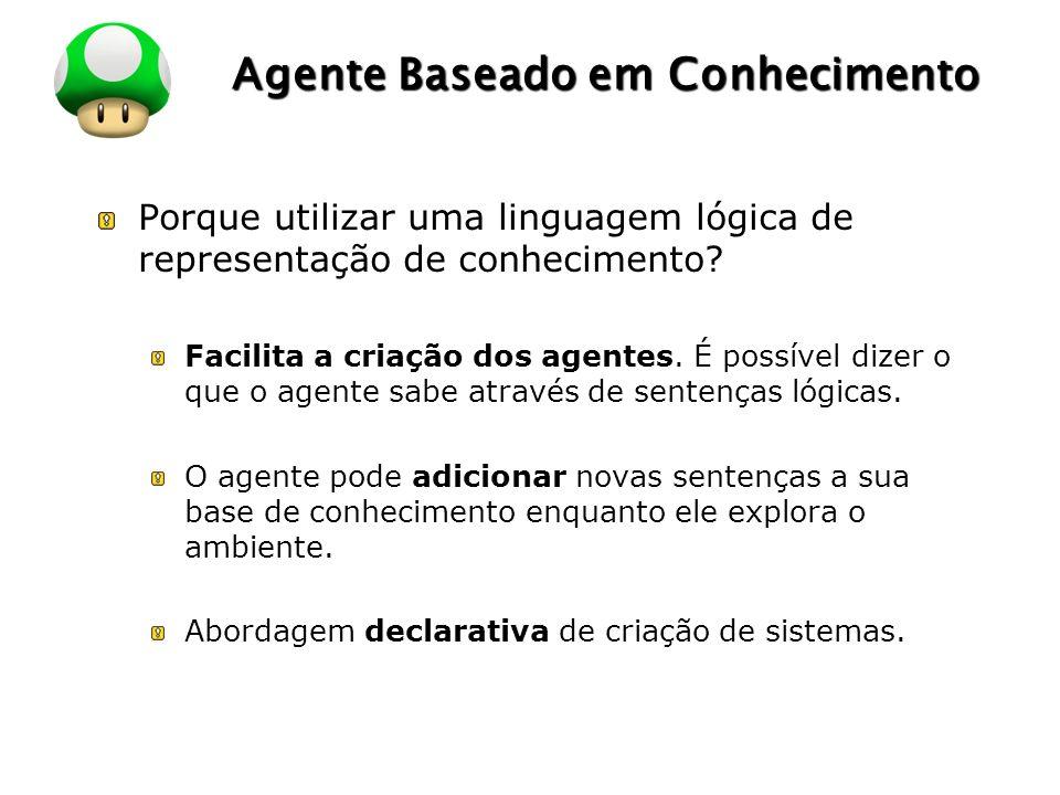 LOGO Agente Baseado em Conhecimento Porque utilizar uma linguagem lógica de representação de conhecimento.